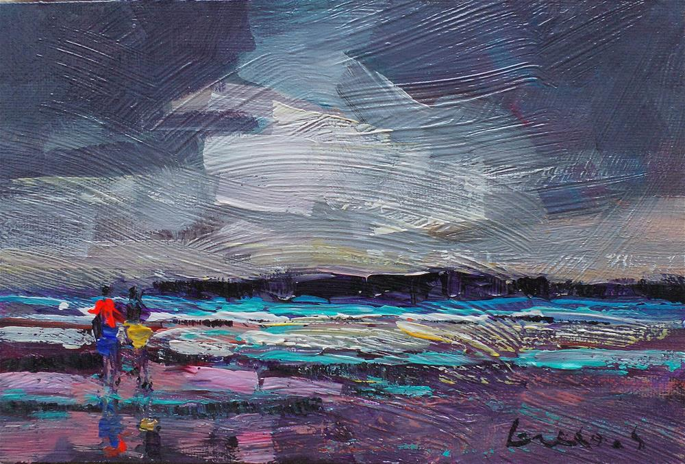 """On the beach 4"" original fine art by salvatore greco"