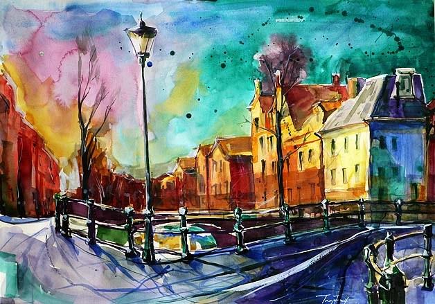"""""""Straße von Amsterdam"""" original fine art by Jurij Frey"""