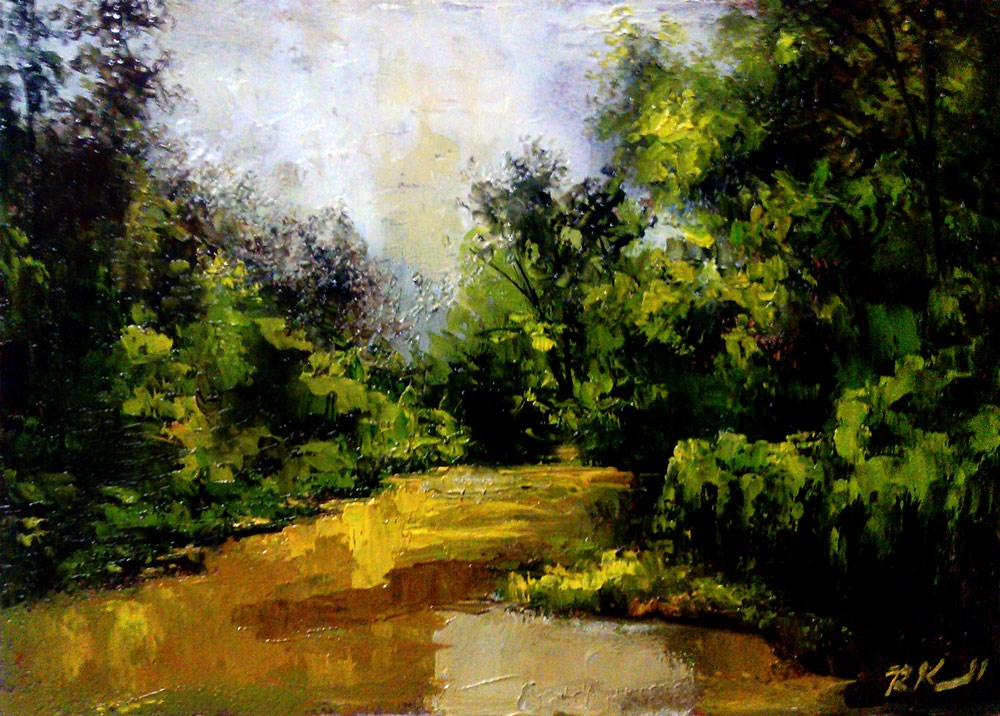 """Muddy Fishing Hole"" original fine art by Bob Kimball"