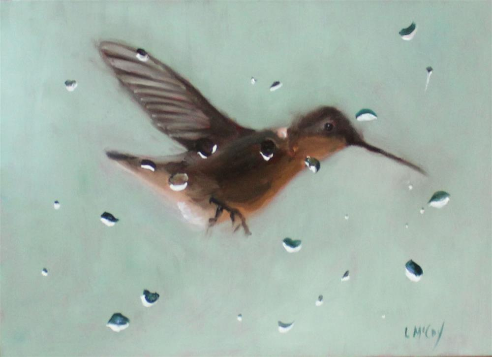 """The Visitor, Hummingbird Oil Painting"" original fine art by Linda McCoy"