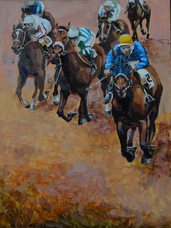 """Last Furlong"" original fine art by Kirk Miller"