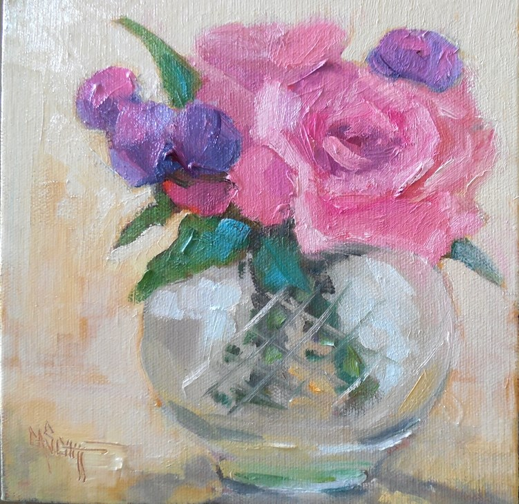 """Rose Still Life Painting, Small Oil Painting, Daily Painting, Rose Bowl, 8x8x1.5 Original Art"" original fine art by Carol Schiff"