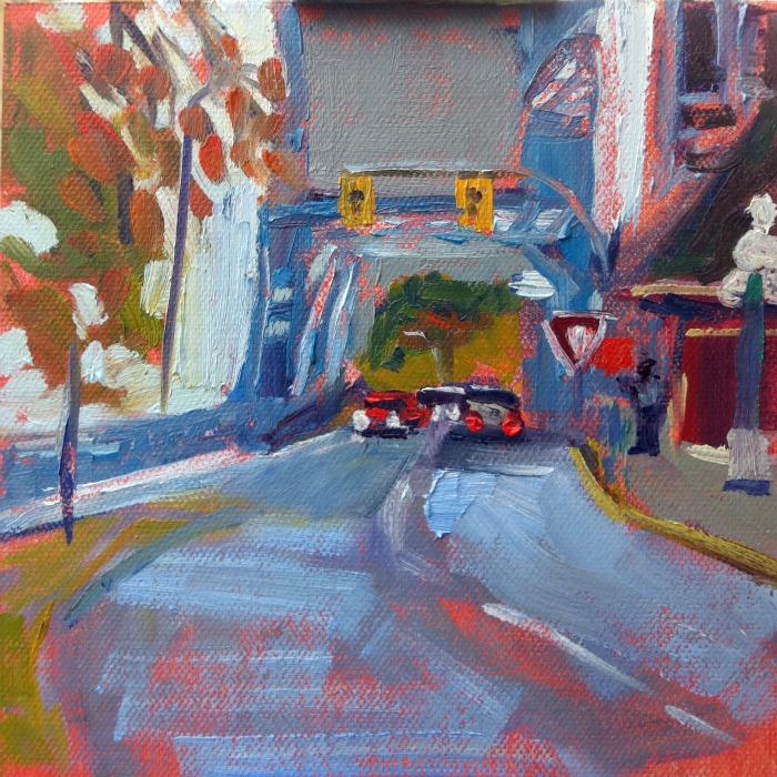 """Blue Bridge, oil on canvas board, 6x6"" original fine art by Darlene Young"