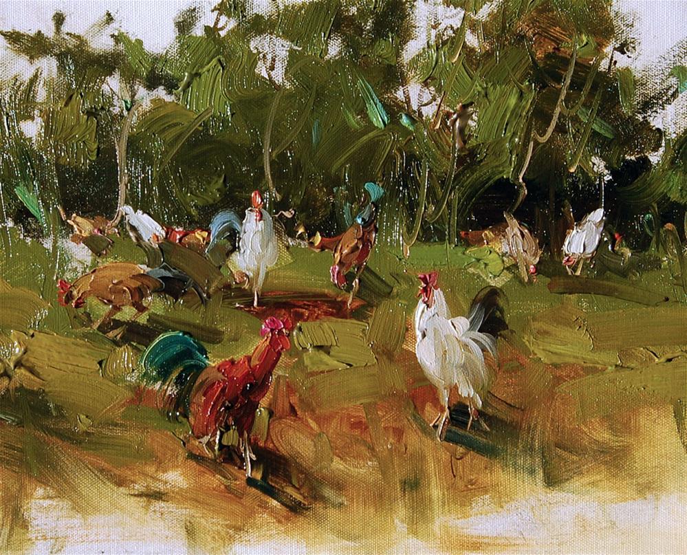 """Backyard chikens"" original fine art by Mostafa Keyhani"