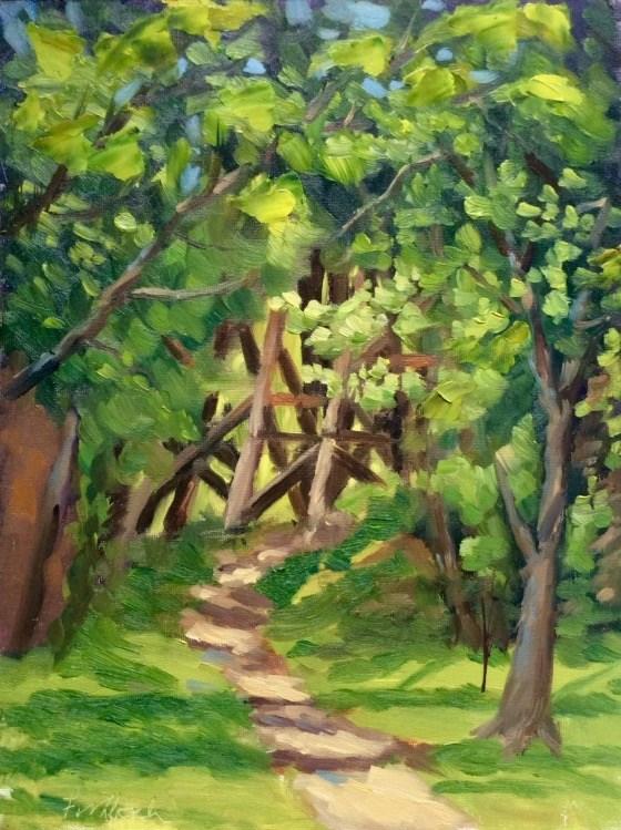 """""""Down the Path en Plein air"""" original fine art by Daniel Fishback"""