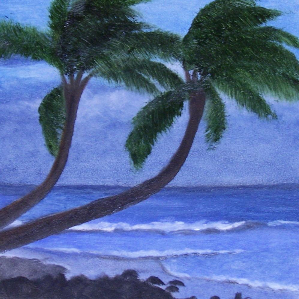 """Two Beach Palms"" original fine art by John Marcum"