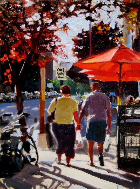 """Bell Town 2  Seattle city scenes oil painting"" original fine art by Robin Weiss"