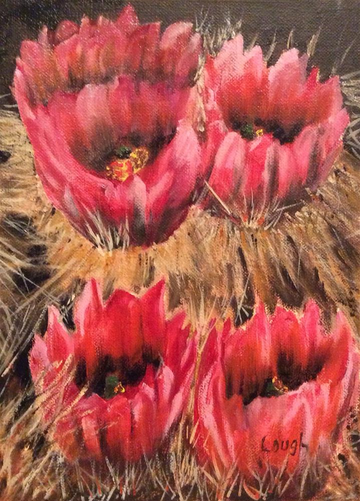 """Cactus Blossom"" original fine art by Charlotte Lough"