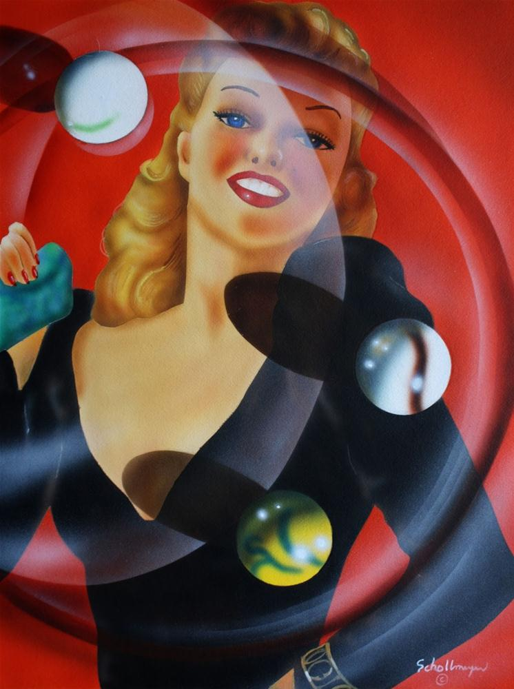 """Pin Up with Glass and Marbles"" original fine art by Fred Schollmeyer"