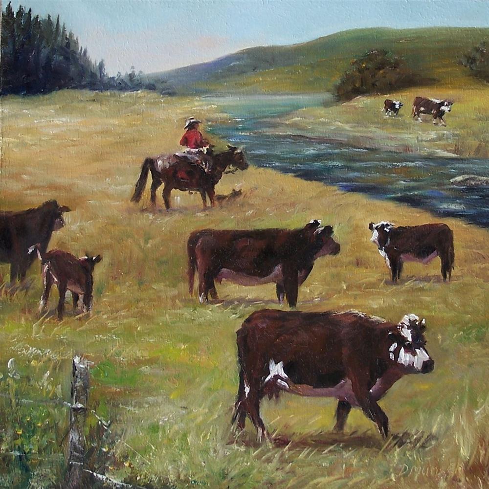 """""""Jim's Cattle"""" original fine art by Donna Munsch"""