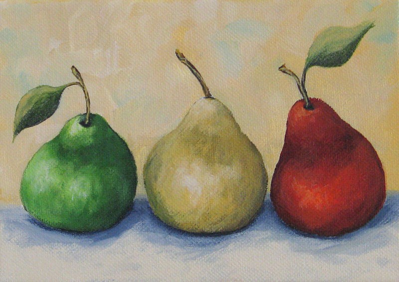 """Traffic Signal Pears"" original fine art by Torrie Smiley"