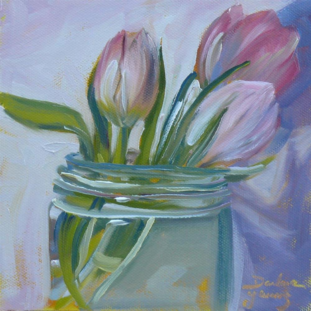 """602 Tulips in a Jar"" original fine art by Darlene Young"