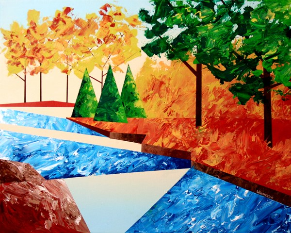 """Mark Webster - Abstract Autumn River Landscape Acrylic Painting"" original fine art by Mark Webster"