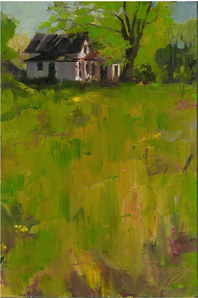 """Abandoned House plein air, oil landscape painting by Robin Weiss"" original fine art by Robin Weiss"