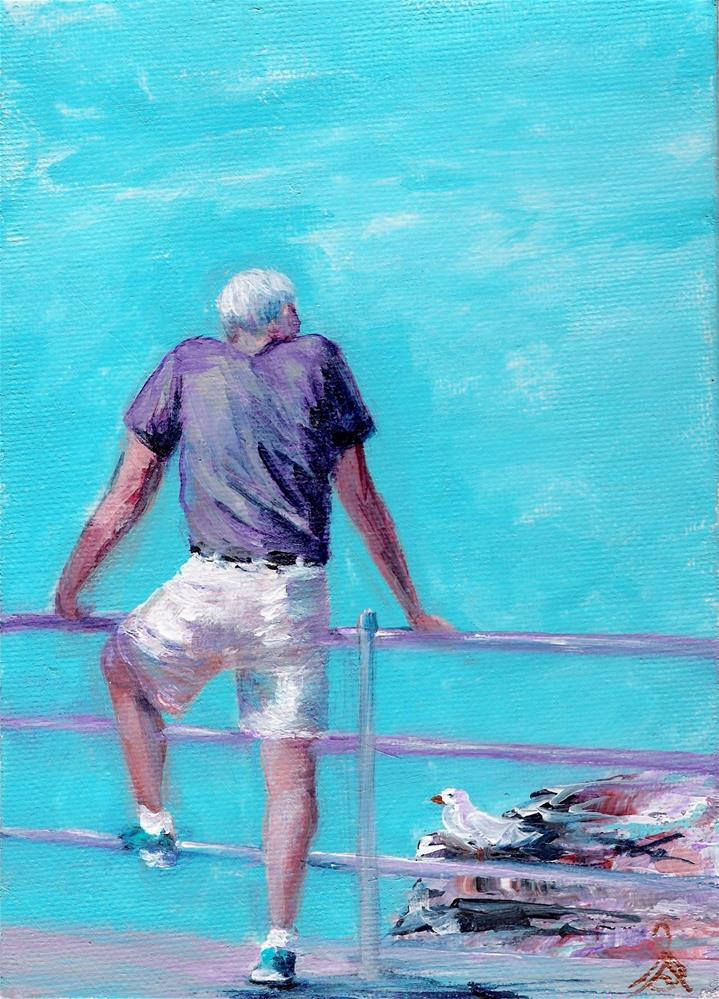 """3206 - Man with Seagull - Summer Boy Series"" original fine art by Sea Dean"