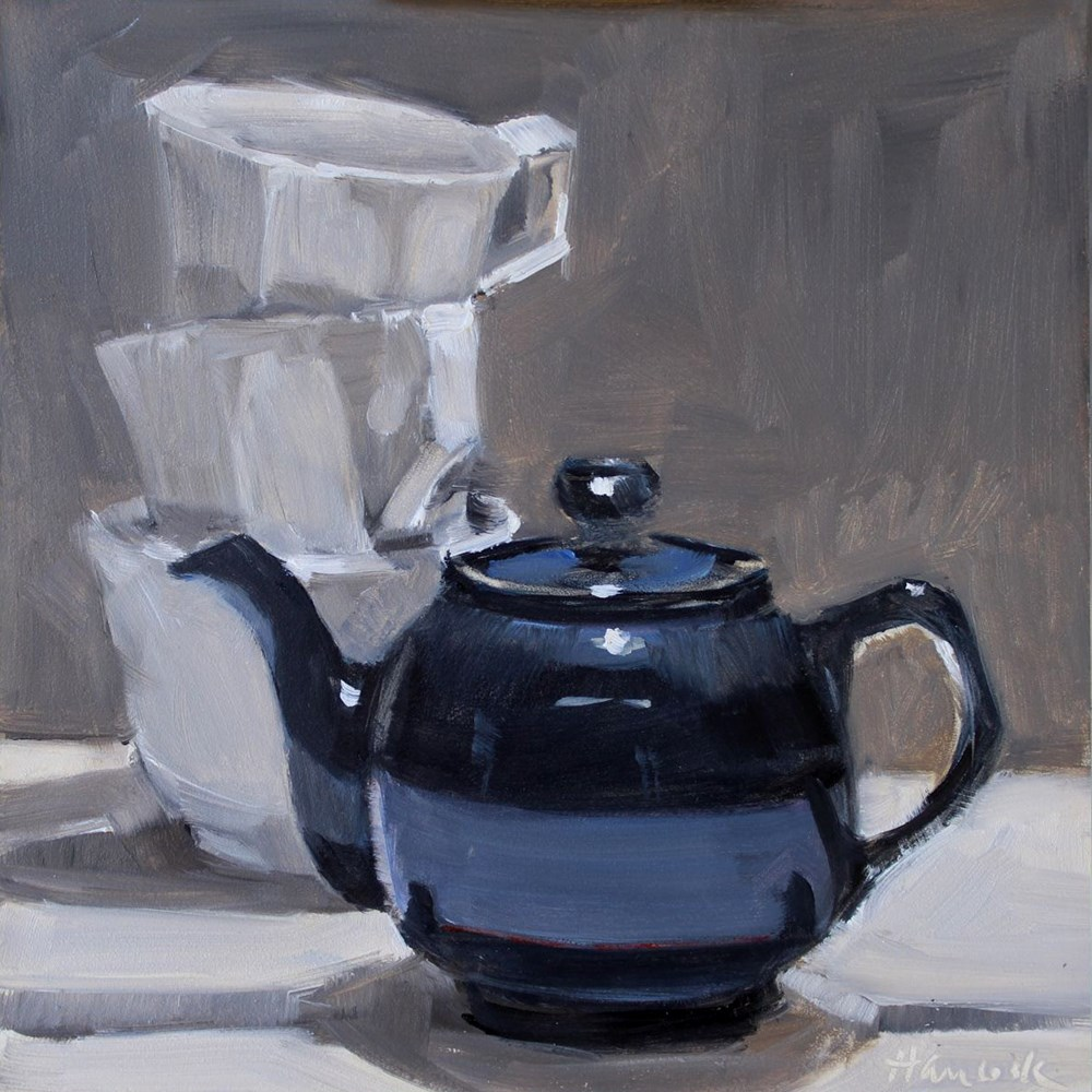 """Blue Teapot, White Cups"" original fine art by Gretchen Hancock"