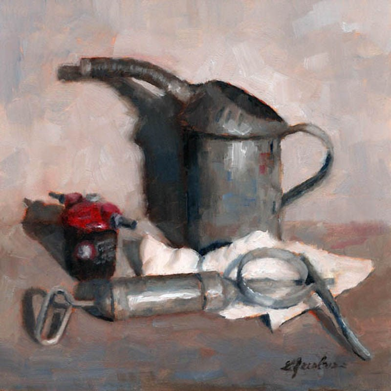 """Vintage Oil Can"" original fine art by Linda Jacobus"