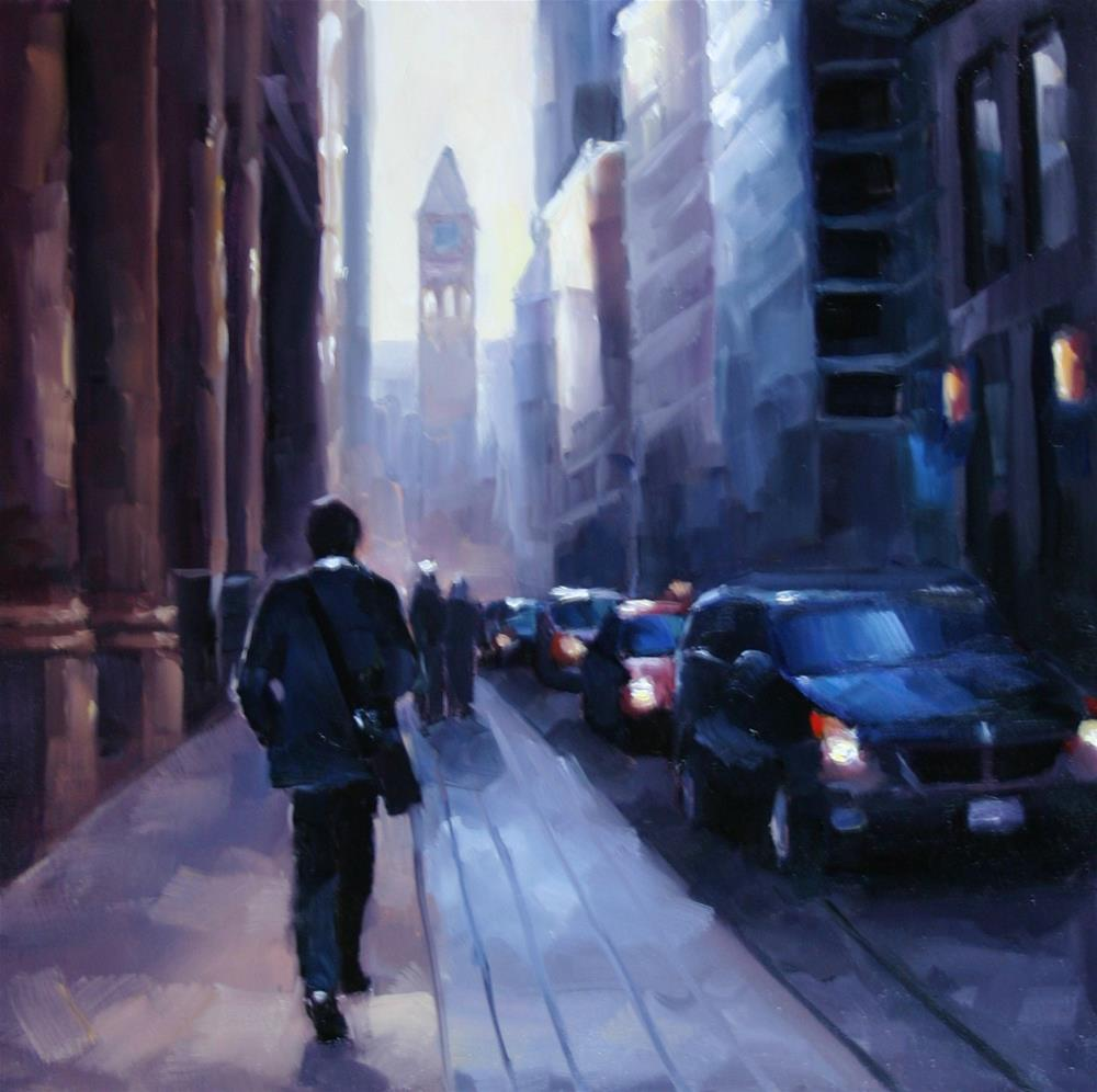"""Heading back to work, Bay Street"" original fine art by Catherine Jeffrey"