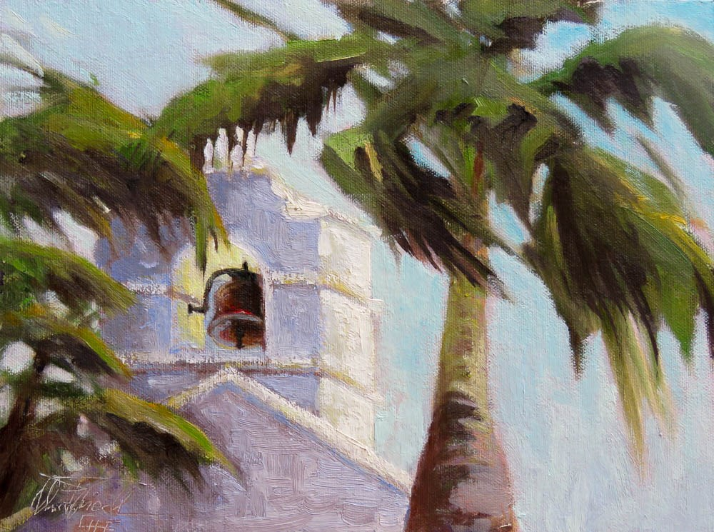 """Belltower - Lady of Mercy Parish, Boca Grande"" original fine art by Christa Friedl"