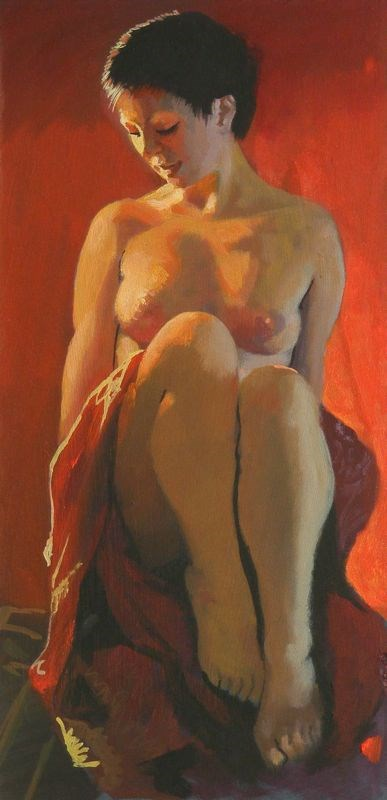 """Nude with cloth"" original fine art by Peter Orrock"