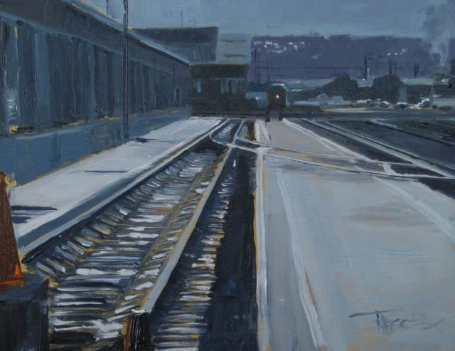 """Below the SafeCo  Seattle train yards, oil painting"" original fine art by Robin Weiss"