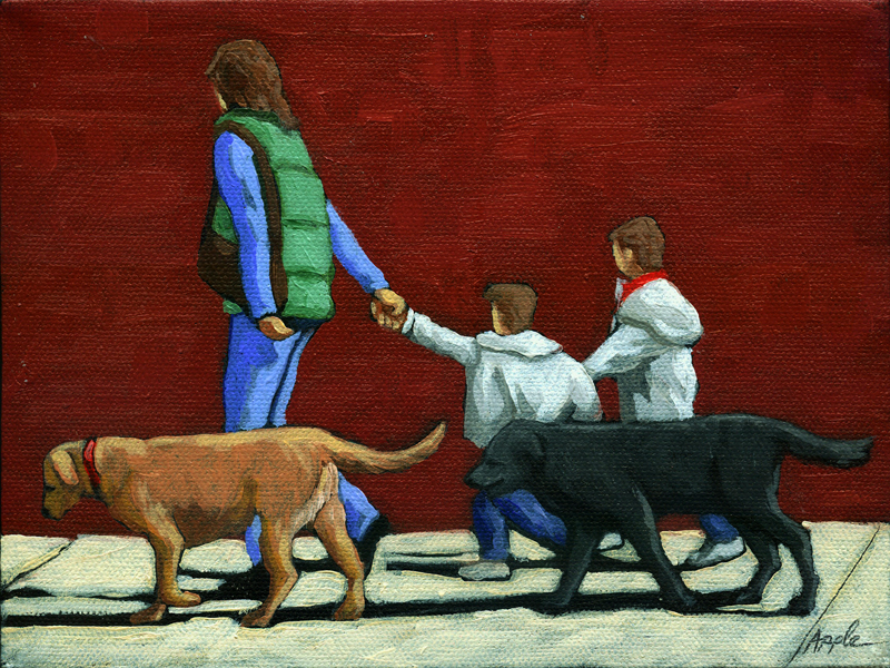 """Family Outing - figurative oil painting"" original fine art by Linda Apple"