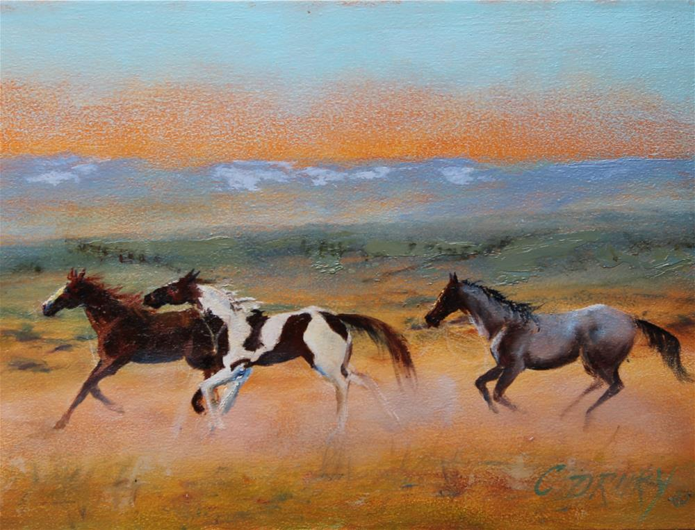 """Red Desert Horses"" original fine art by Colleen Drury"