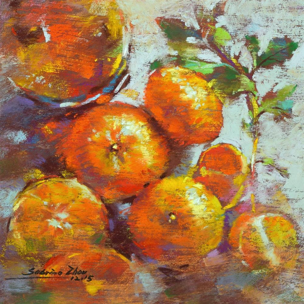 """Mint and Tangerines"" original fine art by Sabrina Zhou"