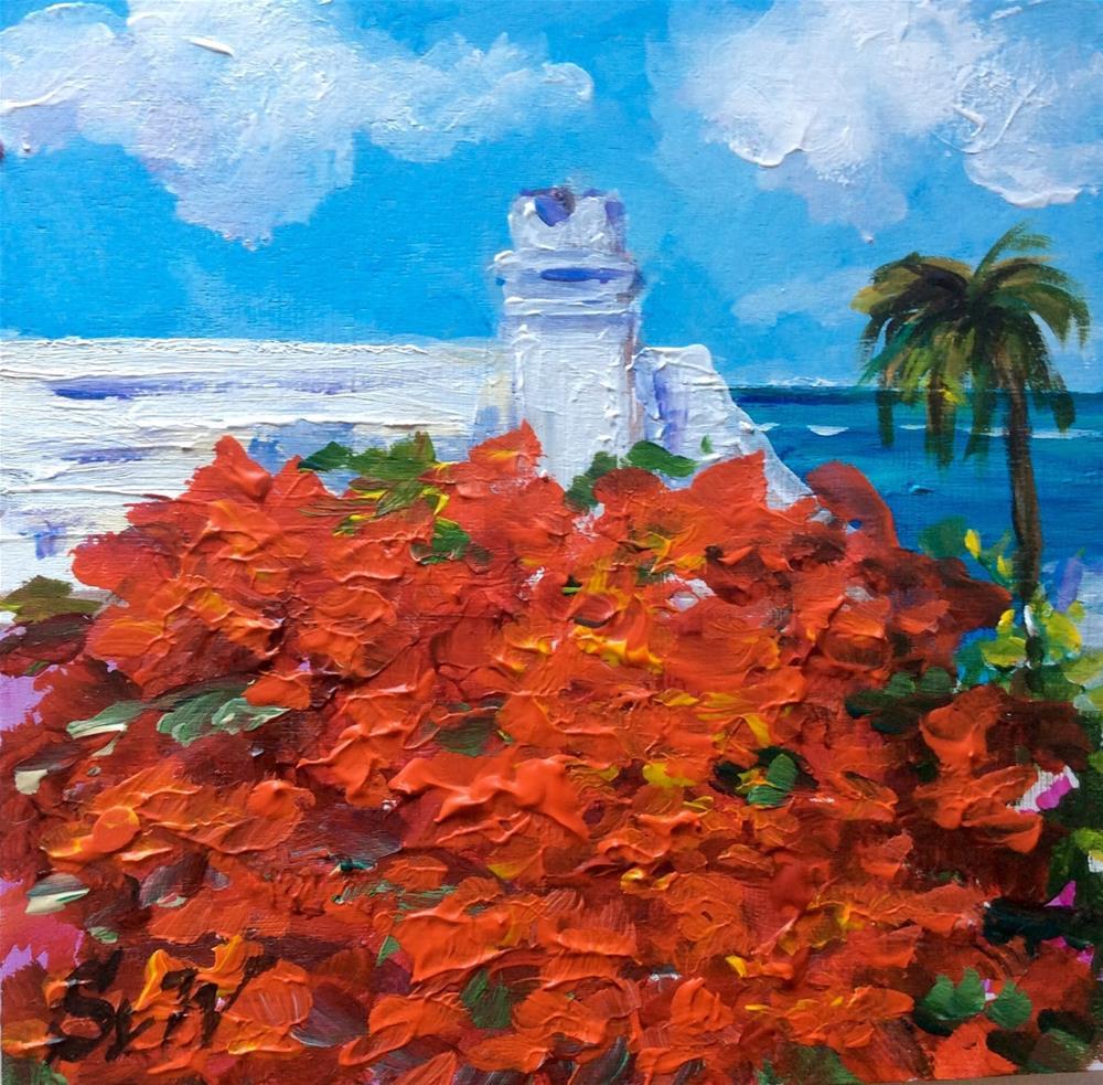 """""""Bermuda roof painting"""" original fine art by Sonia von Walter"""