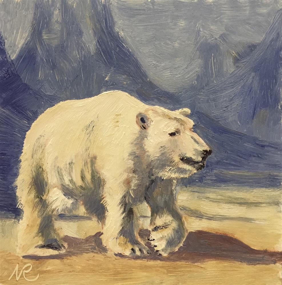 """Polar bear"" original fine art by Natasha Ramras"