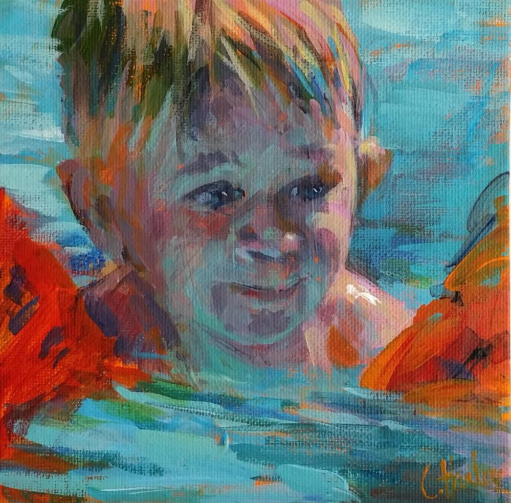 """First time swimming"" original fine art by Catherine Harley"