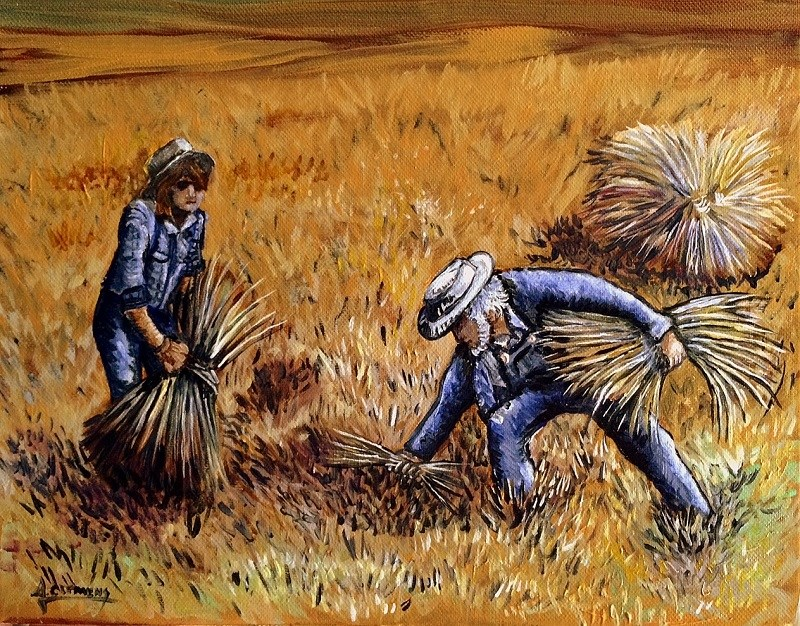 """Wheat for Threshing"" original fine art by Jolynn Clemens"