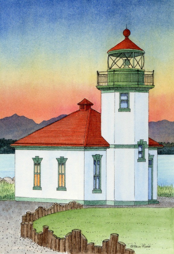 """Alki Point Light"" original fine art by Heidi Rose"