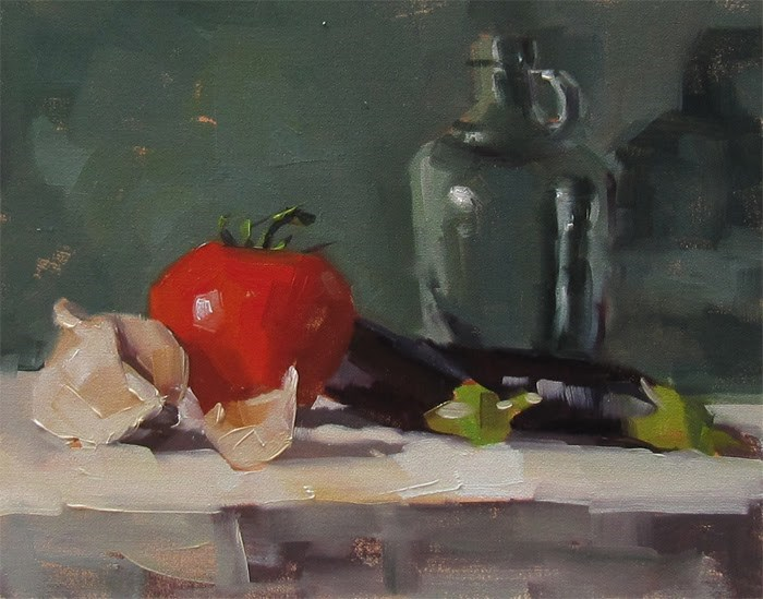 """Tomato and Eggplant"" original fine art by Katia Kyte"