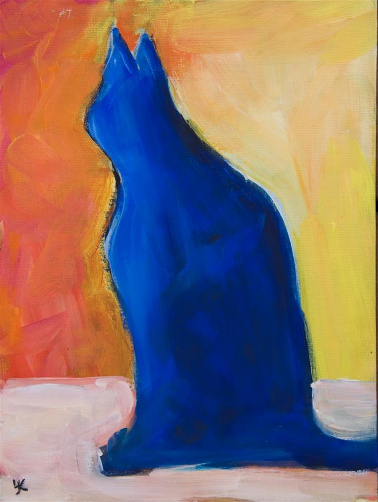 """Blue Cat"" original fine art by Yulia Kazansky"