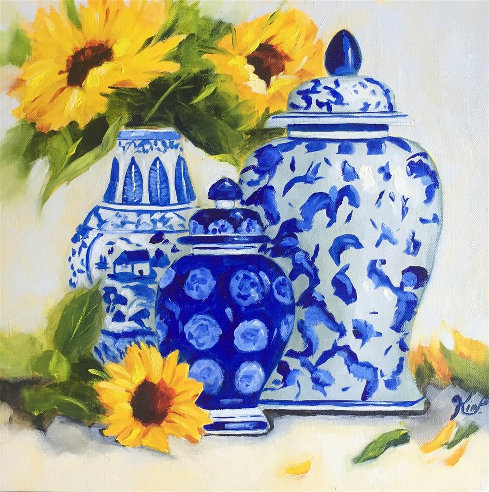 """Blue and White Ginger Jar Chinoiserie Still Life with Sunflowers"" original fine art by Kim Peterson"