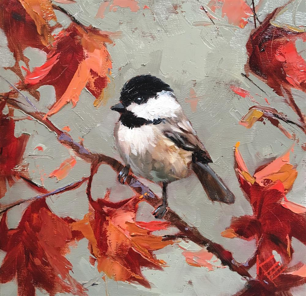 """Chickadee & Maple"" original fine art by Krista Eaton"