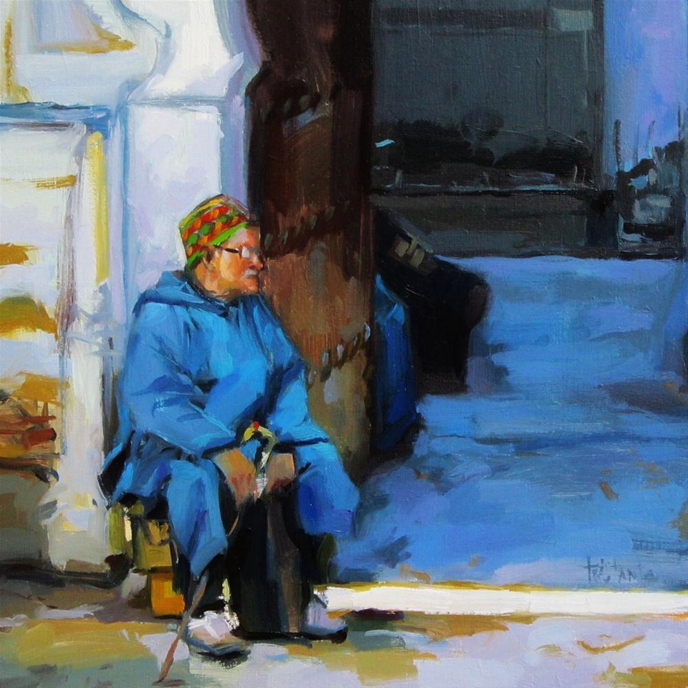 """""""Watching the world pass"""" original fine art by Víctor Tristante"""