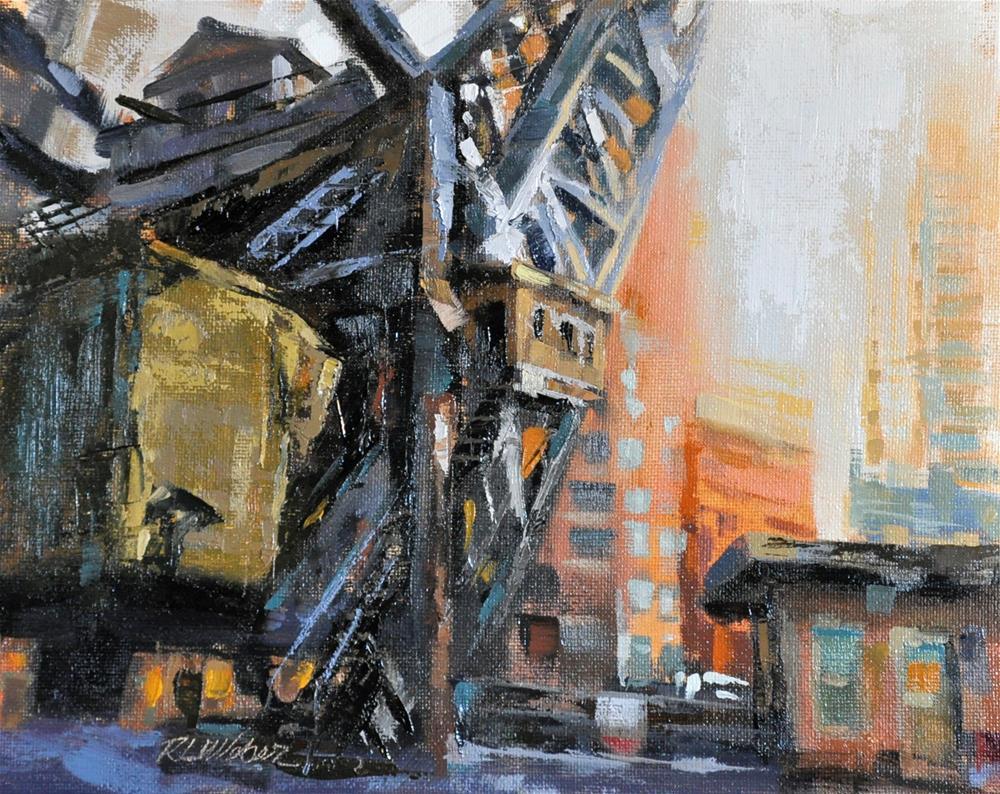 """""""Kinzie Street Swing Bridge"""" original fine art by Rl Weber"""