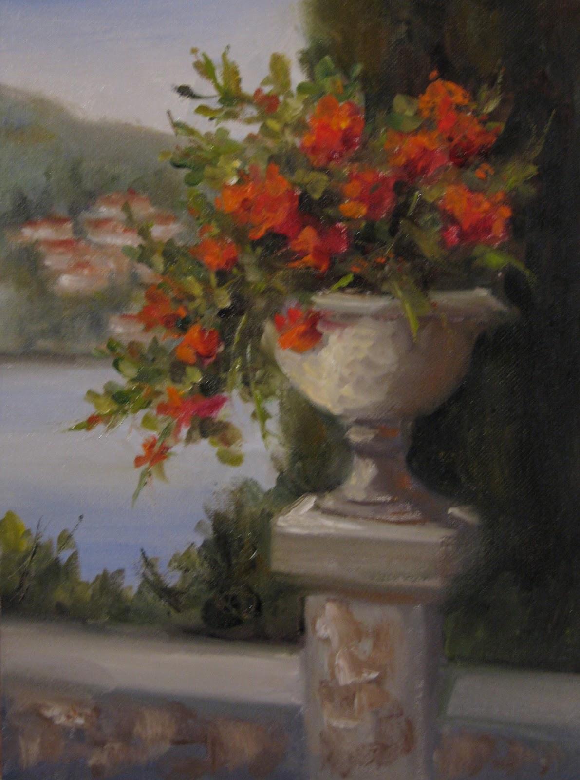 """Flower Study #45 Geraniums in Italy"" original fine art by Pat Fiorello"
