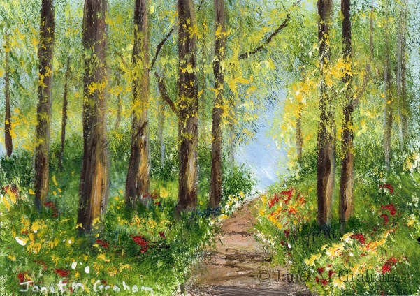 """Spring Pathway ACEO"" original fine art by Janet Graham"