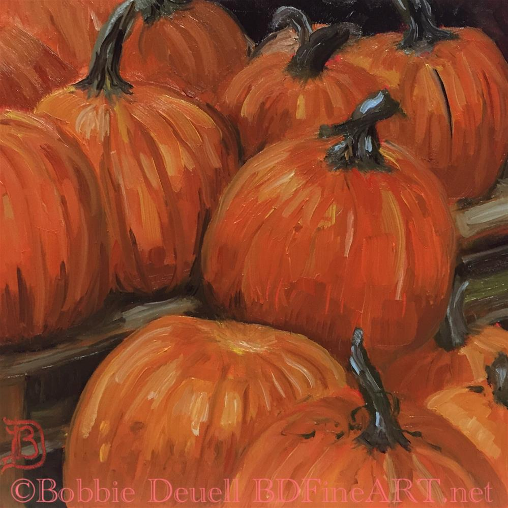 """#42 Pumpkins at Tractor Supply"" original fine art by Bobbie Deuell"