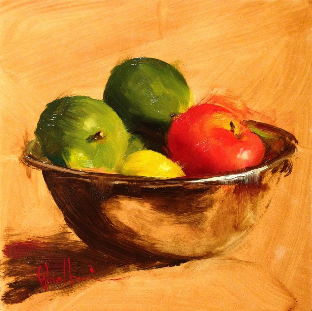 """""""Fruit in Stainless Bowl"""" original fine art by Dorothy Woolbright"""