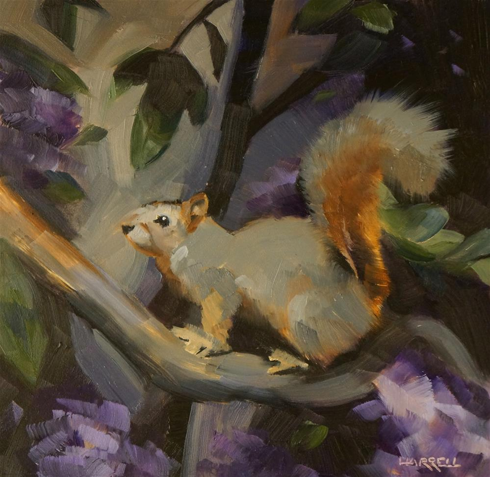 """Squirrel Among the Rhodies"" original fine art by Sue Harrell"