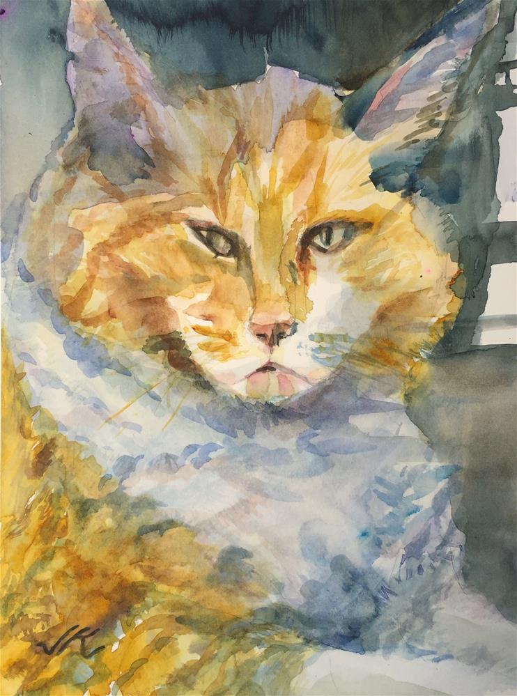 """""""Cat Behind Glass"""" original fine art by jean krueger"""