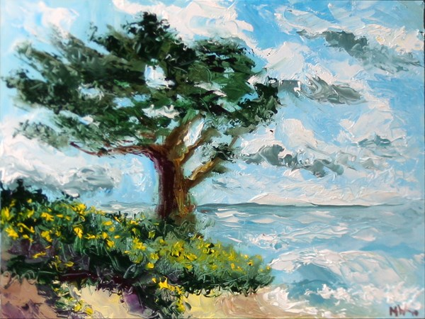 """Cypress Tree on the Pacific Coast Palette Knife Oil Painting by Northern California Artist Mark Webs"" original fine art by Mark Webster"