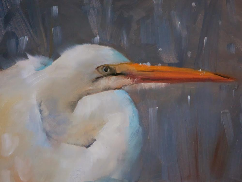 """Snowy Crane"" original fine art by Beth Bathe"