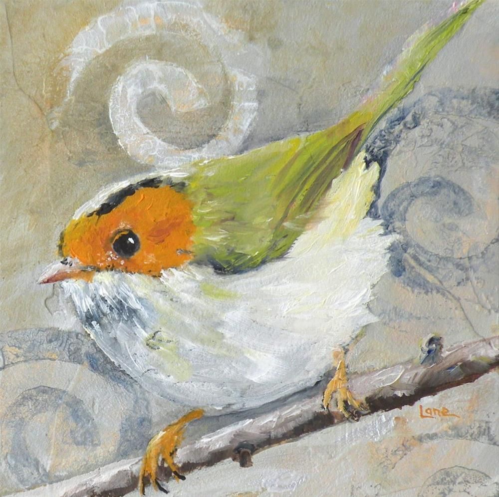"""FEATHERED NICELY ORIGINAL 4X4 OIL ON PANEL © SAUNDRA LANE GALLOWAY"" original fine art by Saundra Lane Galloway"