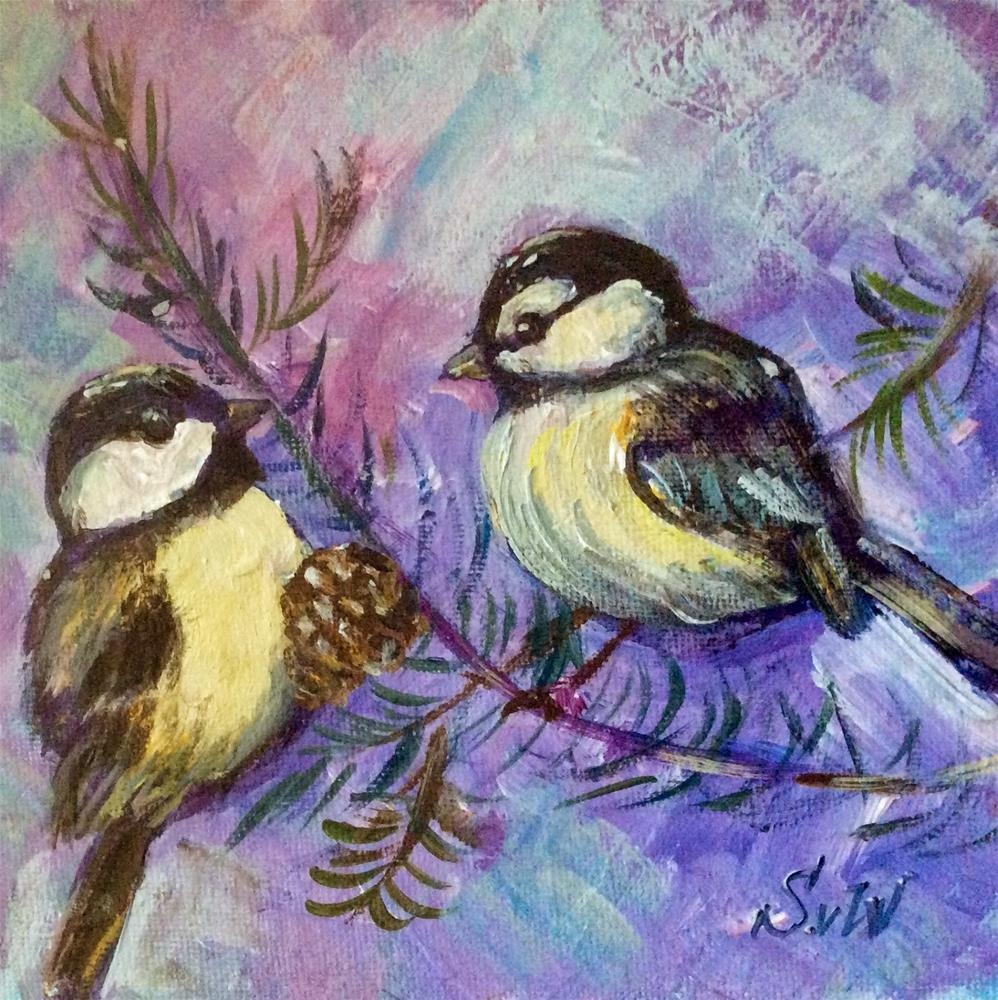 """Two chickadees painting"" original fine art by Sonia von Walter"