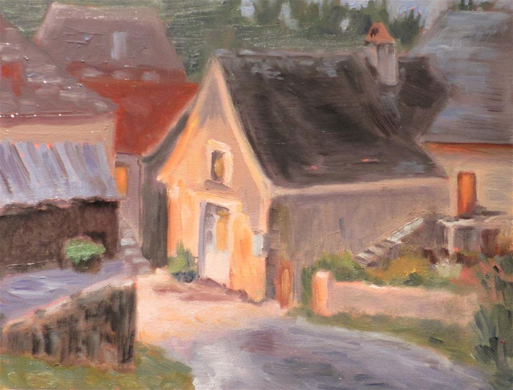 """Evening in a French Village"" original fine art by Judy Elias"